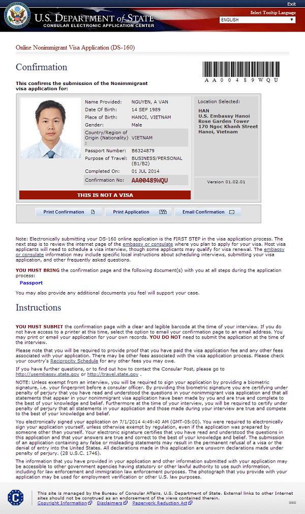 Hướng dẫn điền đơn DS-160 : Điền đơn xin visa Mỹ trực tuyến