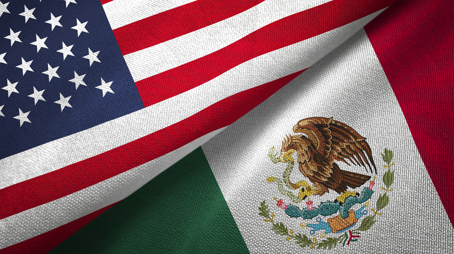 Mexico And United States Two Flags Textile Cloth Fabric Texture