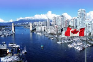 Canadian Flag In Front Of View Of False Creek And The Burrard St